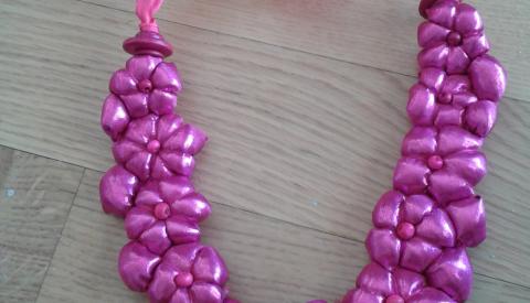 Collier potirons ruban rose