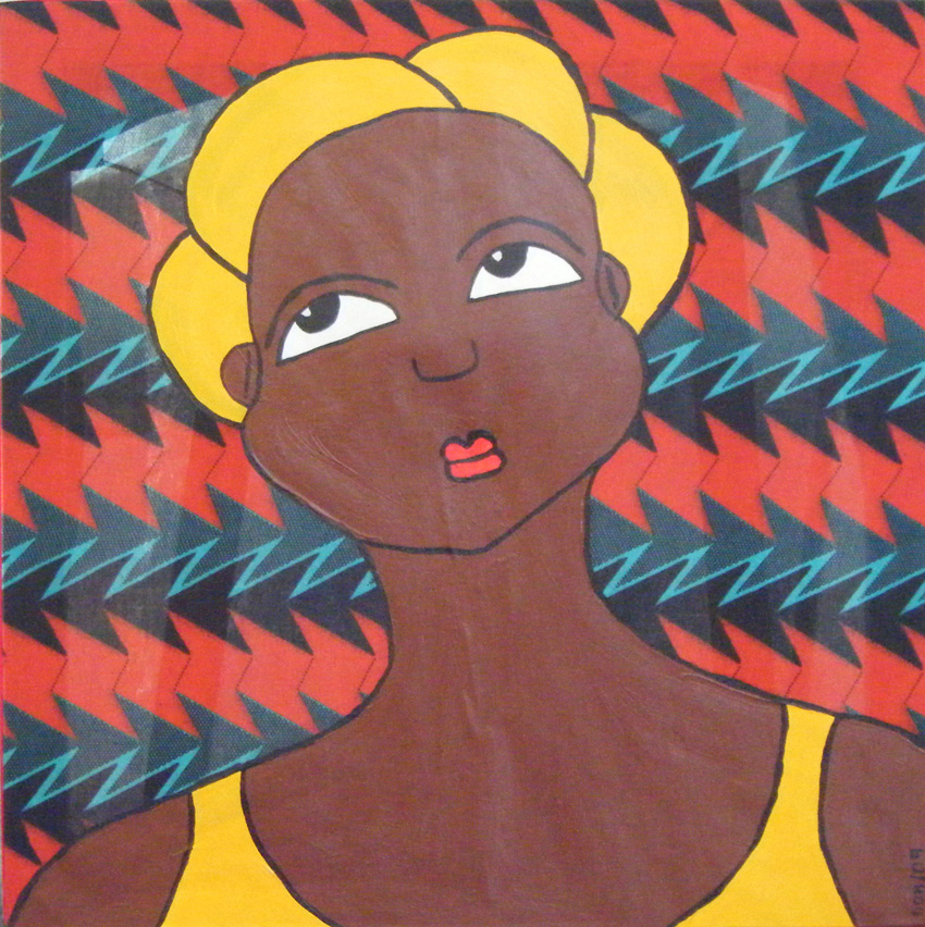 Femme au foulard jaune