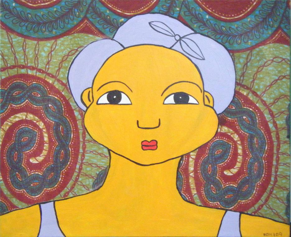 Femme au foulard mauve