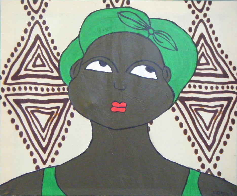 Femme au visage et au foulard verts